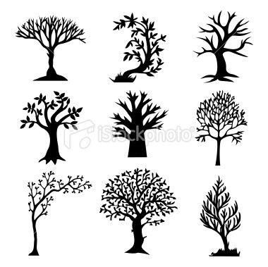 Stylized Tree Silhouette Set Royalty Free Stock Vector Art Illustration