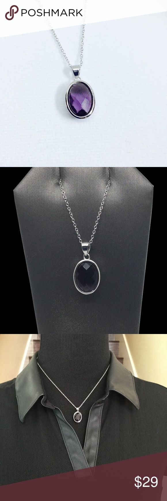 """Sweet Caroline purple Pendant Timeless design Sterling Silver Purple Stone Pendant  Large oval cubic Zirconia on bezel setting  Comes with Sterling silver 18"""" rolo chain has a easy to put on  lobster clasp   Look also for the matching earrings, buy the set for $39 total Jewelry Necklaces"""