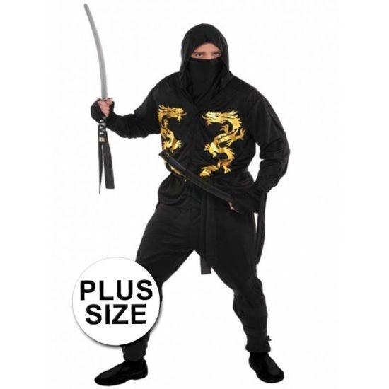 Plussize ninja kostuum voor heren  Grote maten ninja kostuum. Het kostuum bestaat uit een shirt met hoofddoek en broek. Exclusief accessoires. Materiaal: 100% polyester.  EUR 29.95  Meer informatie