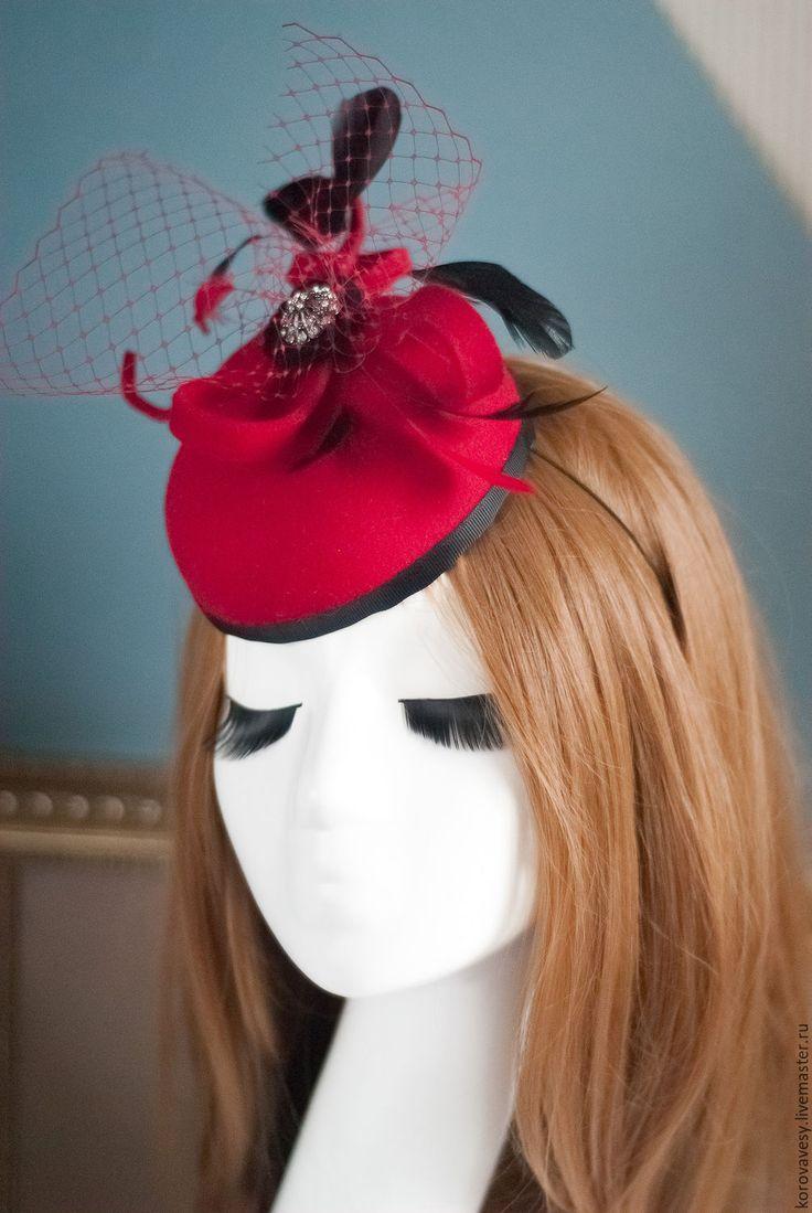 """Купить """"Турандот"""" - ярко-красный, шляпка, маленькая шляпка, таблетка, праздничный аксессуар, женская шляпка"""