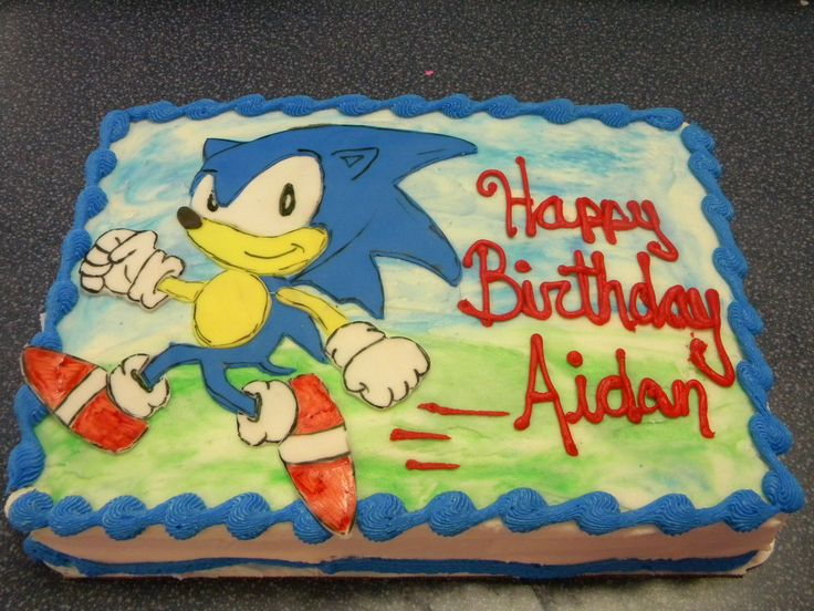 Sonic the Hedgehog Cake - 1/4 sheet cake with fondant hand-drawn Sonic the Hedgehog. (I just really like doing fondant characters...which is weird because I cant draw a stick man on paper)