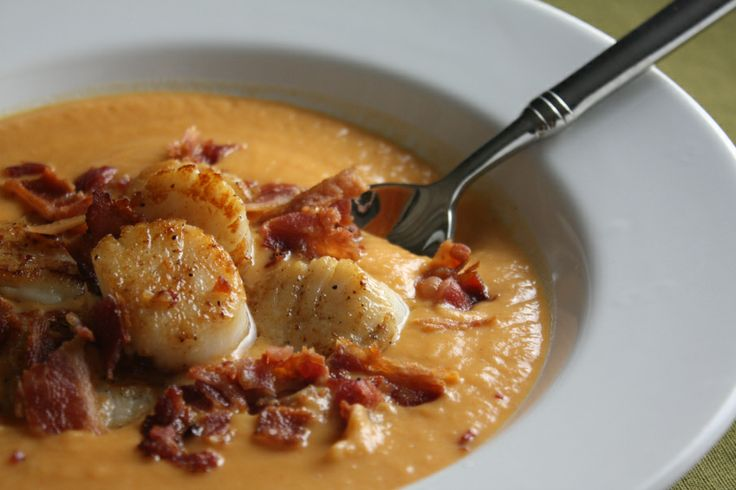 sweet potato bisque with pan-seared scallops and bacon