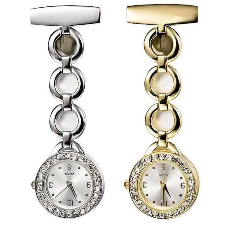 New Womens Lady Rhinestone Stainless Steel Quartz Brooch Nurse Watch 2Colors