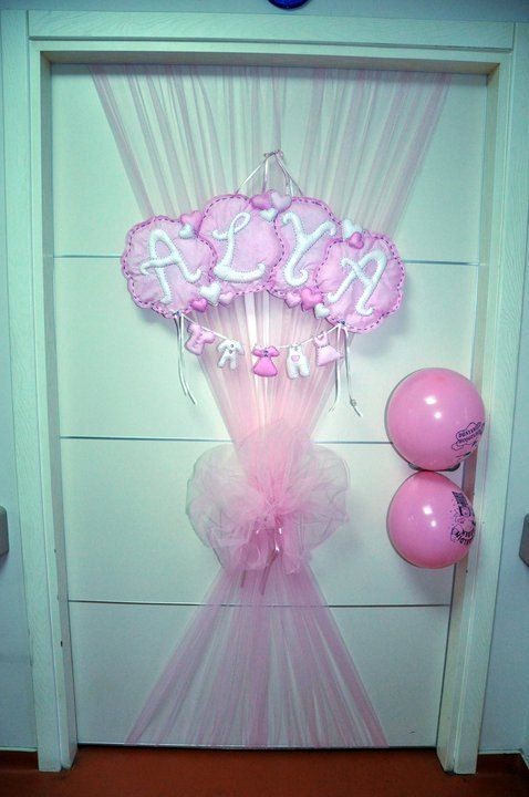 Baby shower decorations newborn baby door ornament for Baby girl hospital door decoration