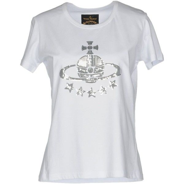 Vivienne Westwood Anglomania T-shirt (165 CAD) ❤ liked on Polyvore featuring tops, t-shirts, white, sequin top, cotton jersey, logo t shirts, cotton tees and white top