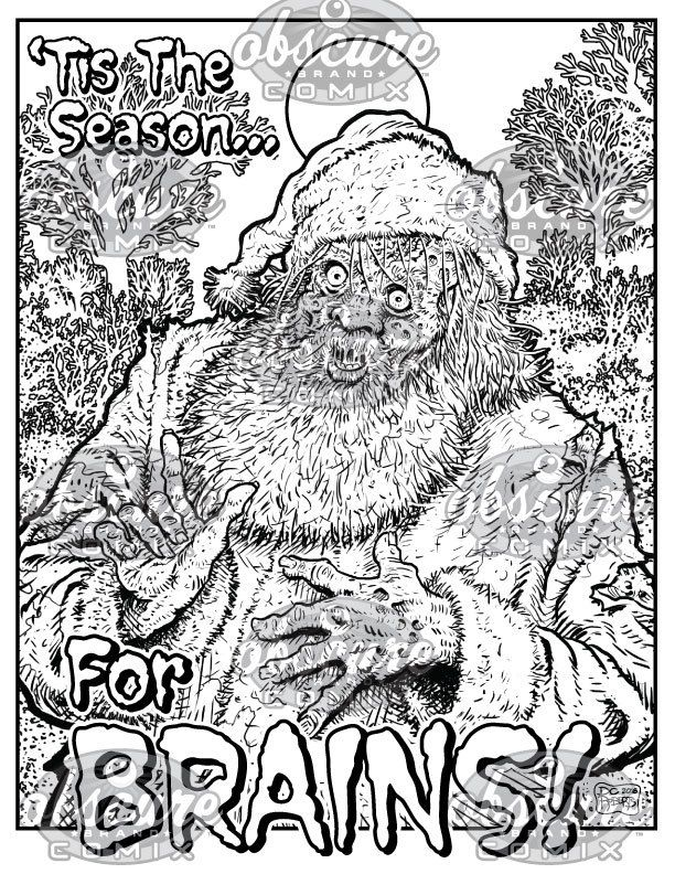 digital zombie coloring page santa claus tis the season for brains by - Zombie Coloring Book