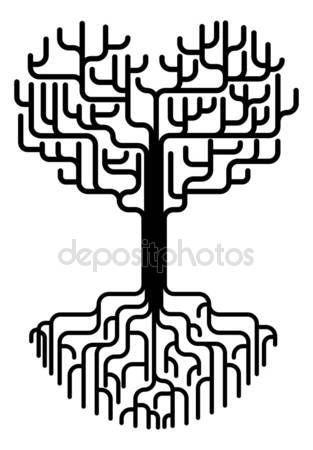 Скачать - Силуэт дерева абстрактного сердца — стоковая иллюстрация #7120807