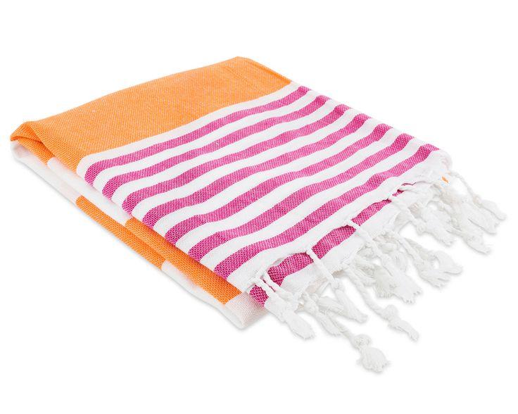 Nantucket Fouta Towel - Fuchsia/Orange