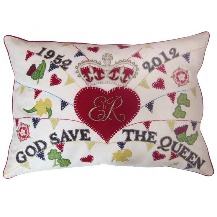 Jan Constantine God Save the Queen Hand Embroidered Street Party Pillow - Cream   Diamond Jubilee Pillows