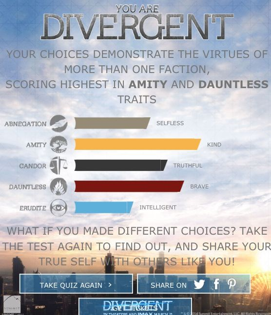 Take the Official Faction quiz at www.divergentthemovie.com I got Divergent :) You can click on the picture to go to the website