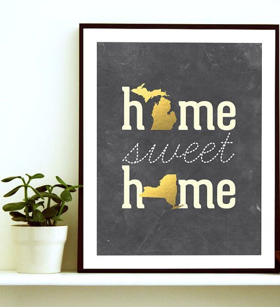 love this! needit with virginia and california - Home Sweet Home Home State Print Home State Art by BlessedType