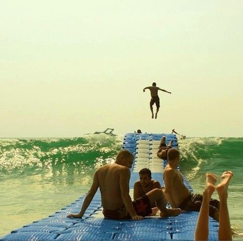 """WHAT!  This looks awesome!    """"CanDock floating dock system lets you ride the waves while sitting still, like a trampoline on water!"""": Beaches, Idea, Buckets Lists, Awesome, The Ocean, Fun, Waves Rider, Floating Dock, The Waves"""