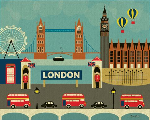 This London poster was created as a commemorative poster to celebrate this historic city. My London poster is a whimsical collage, featuring icons of London. City landmarks frame the center of the collage, a sign of London flanked by two precious little guards. It's a darling piece of art both pl...