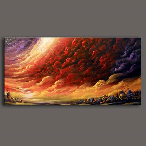 Art abstract original painting red cloud texture by mattsart, $450.00