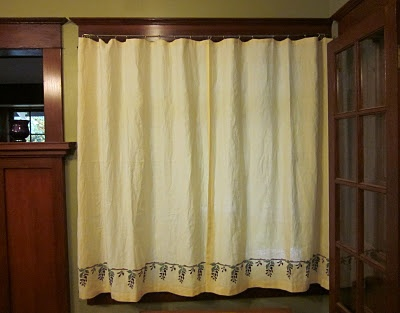 Linen craftsman style stencilled and embroidered curtains. Wisteria