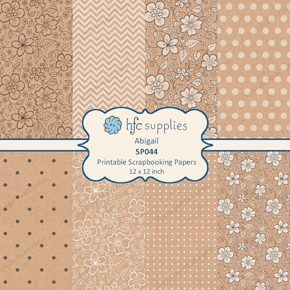 Floral Kraft Digital Papers 'Abigail' hand drawn flower patterns with coordinating spotty and chevron designs by hfcSupplies on Etsy. Kraft paper texture printable scrapbooking papers. Use in card making, scrapbooking, paper craft or even for wrapping small gifts!