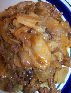 Crockpot Hamburger Casserole - added string beans and mixed 1/2 cup sour cream and 1 can milk with soup (reg. cream of mushroom). Very good!
