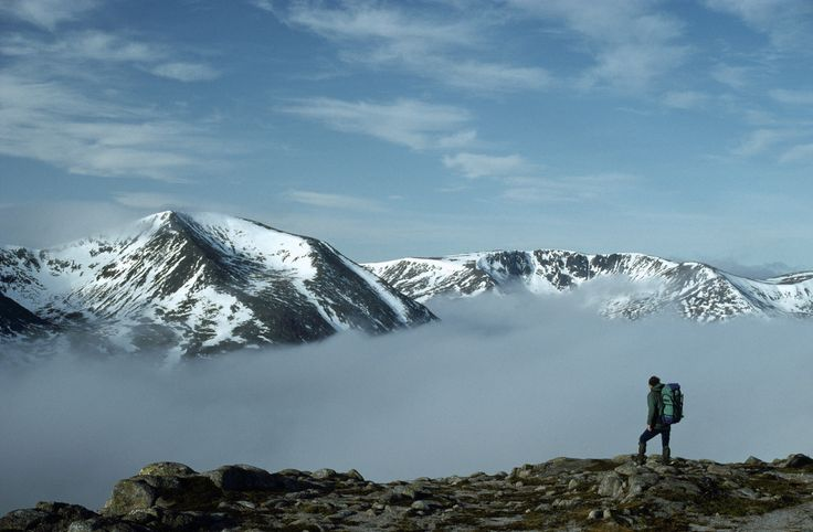 10-mile mountain pass of Lairig Ghru. Looming above are Britain's second and third highest peaks, Ben Macdui (1,309 metres) and Braeriach (1...