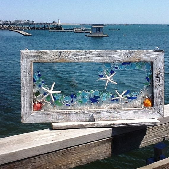 24X 12 Perfect wave of beach glass accented with sand and white finer star fish. Best viewed back lite