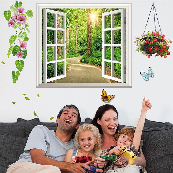 Поддельные Окна 3D Стикер Стены ПВХ Материал Творческий Наклейки На Стены DIY Home Decor для Гостиной Детей Номеров Диван Фон украшения купить на AliExpress
