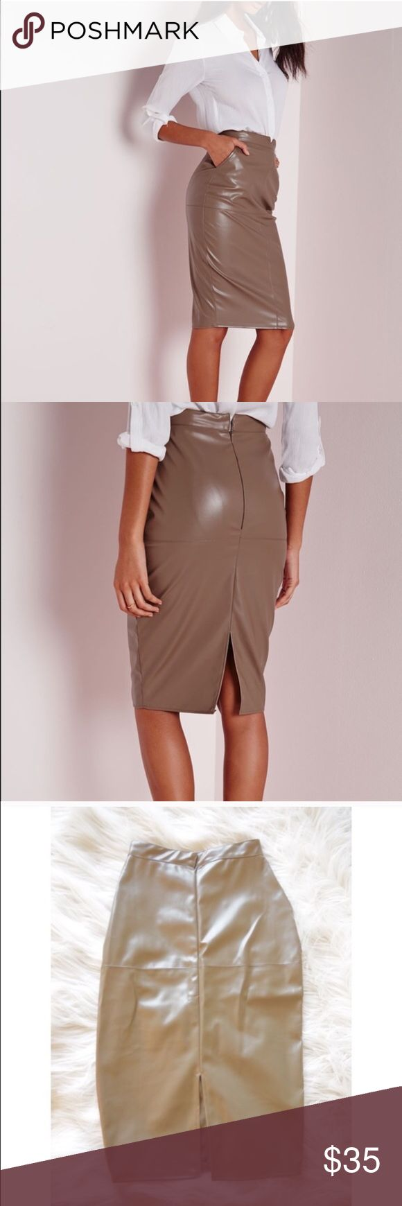 NWOT faux leather midi skirt Perfect condition. I am a size 26 and it's just too small on my waist. PRICE IS FIRM. bundle for discount. Cheaper on Ⓜ️ Missguided Skirts Midi