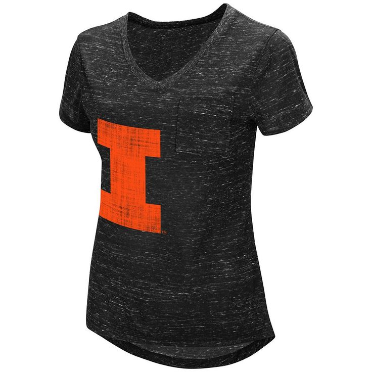 Women's Campus Heritage Illinois Fighting Illini Pocket Tee, Grey (Charcoal)