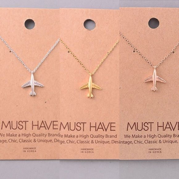 """Silver, Gold and Rose Gold Airplane Necklace 16"""" 16"""" silver, gold and rose gold necklaces, each sold separately. Perfect for those who love travel Jewelry Necklaces"""