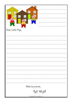 Wolf sorry letter writing frames (Three Little Pigs) (SB9124) - SparkleBox