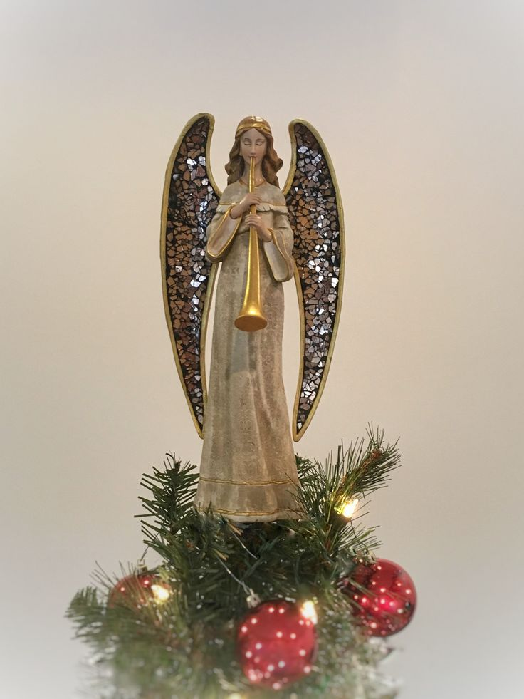 Tree Topper - Unique Tree Topper - Mosaic Angel With Horn