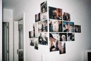 Mosaico de fotos no canto da parede