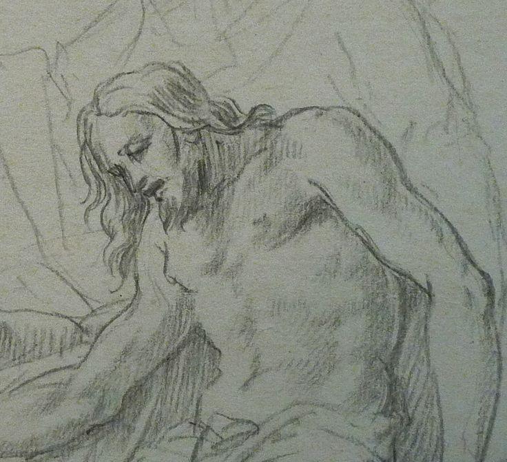 AVELLINO Anofrio - Le Christ mort soutenu par la Vierge et un Ange - drawing - Détail 13 -  - Le Christ mort - Dead Christ -