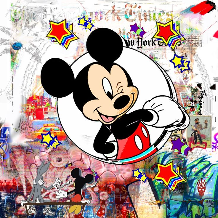 Follow Mickey To Paradaise City (150x150cm). Nelson Fabiano's series of Disney figures, blended in the NYC street art aesthetics. In this series, Fabiano is paying his respect to the important cultural movement of street art, and reminiscence to his days as a graffiti artists, using the nostalgic figures that were a part of our childhood. #disney #art #mickeymouse #donaldduck #painting