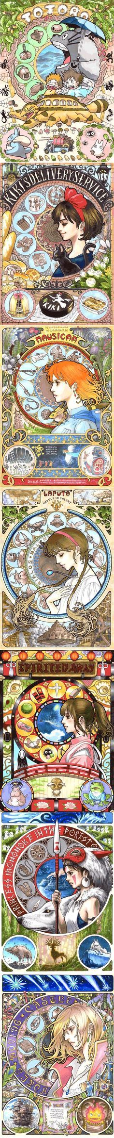 Pixiv user marlboro creates richly detailed portraits of the characters from Hayao Miyazaki's films. Each art nouveau-flavored illustration is packed with images and symbols from each movie.