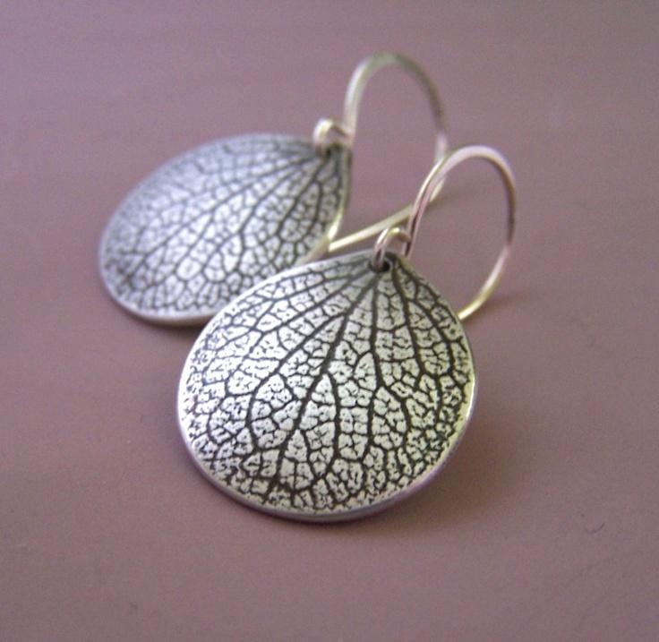 Hydrangea Petal Earrings  Sterling Silver  Large by esdesigns, $48.00
