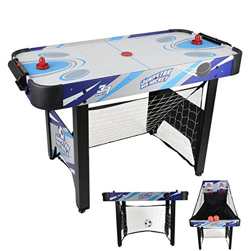 Air hockey, basketball hoops and a football goal in one  1 football, 2 basketballs, 2 hockey pucks and 2 pushers  Supplied with an EU and UK plug for air hockey table