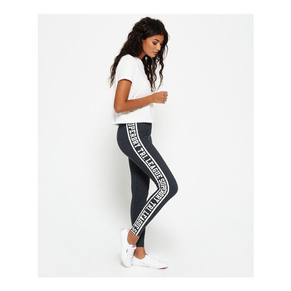 Superdry Tri League Graphic Leggings (€35) ❤ liked on Polyvore featuring pants, leggings, dark grey, graphic print pants, legging pants, patterned trousers, dark grey leggings and graphic print leggings