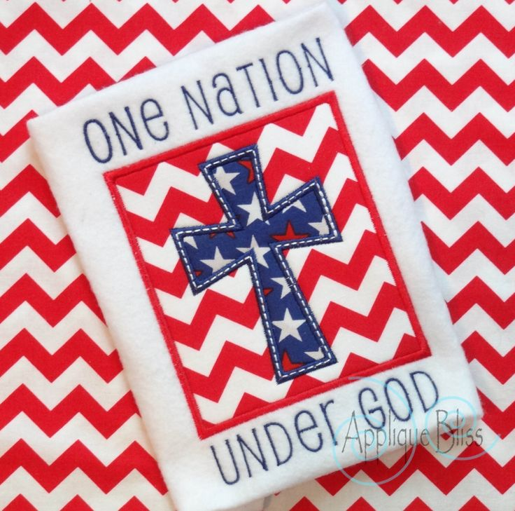 American Cross Applique Design - July 4th - 4th of July - Independence Day - Monogram - Machine Embroidery by AppliqueBliss on Etsy https://www.etsy.com/listing/232796610/american-cross-applique-design-july-4th