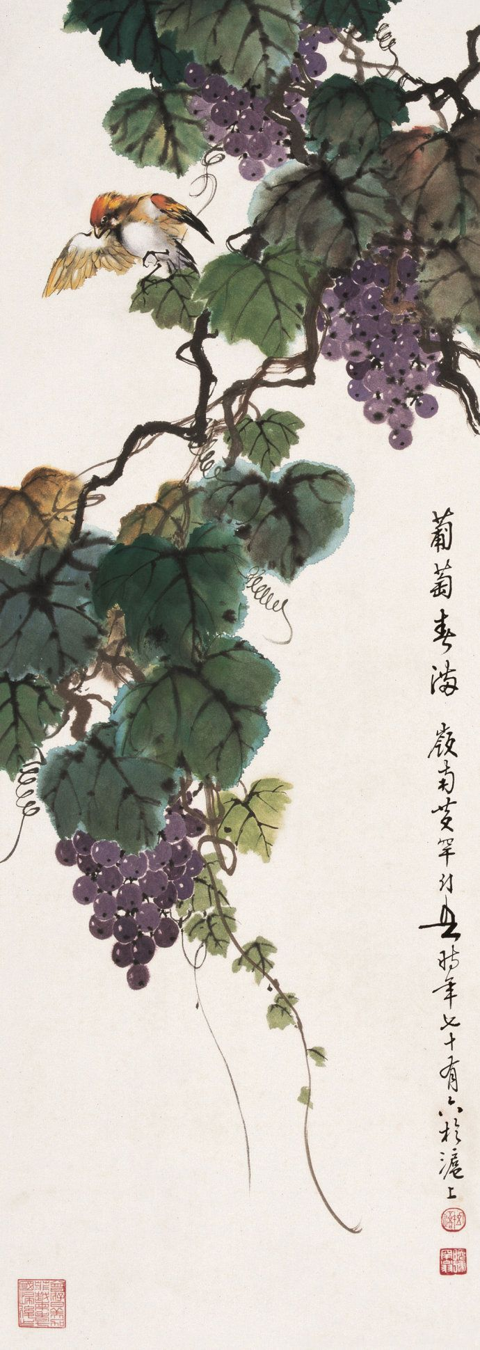 #MasterHuangHuanWu #ChinesePaintingGrapes #AsianBrushPainting