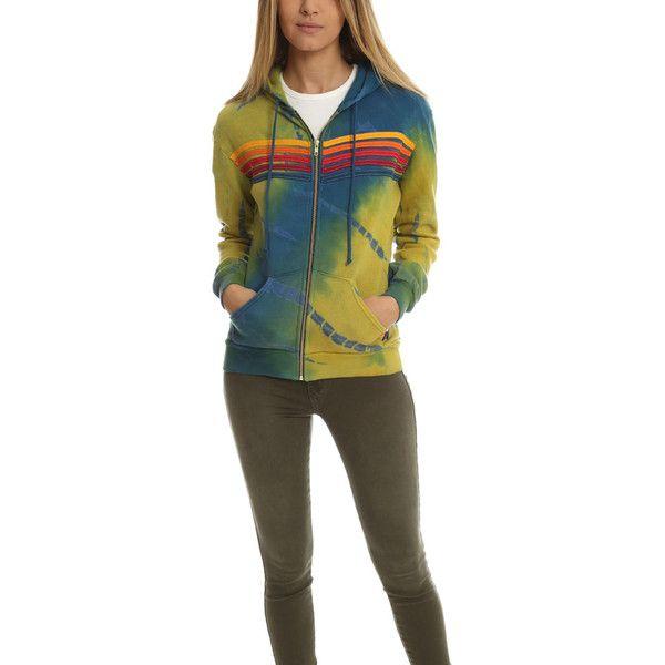 Aviator Nation 5 Stripe Zip Hoody ($195) ❤ liked on Polyvore featuring tops, hoodies, women, zip up hoodies, zipper hoodie, tie dye hooded sweatshirt, striped hoodie and zipper hoodies