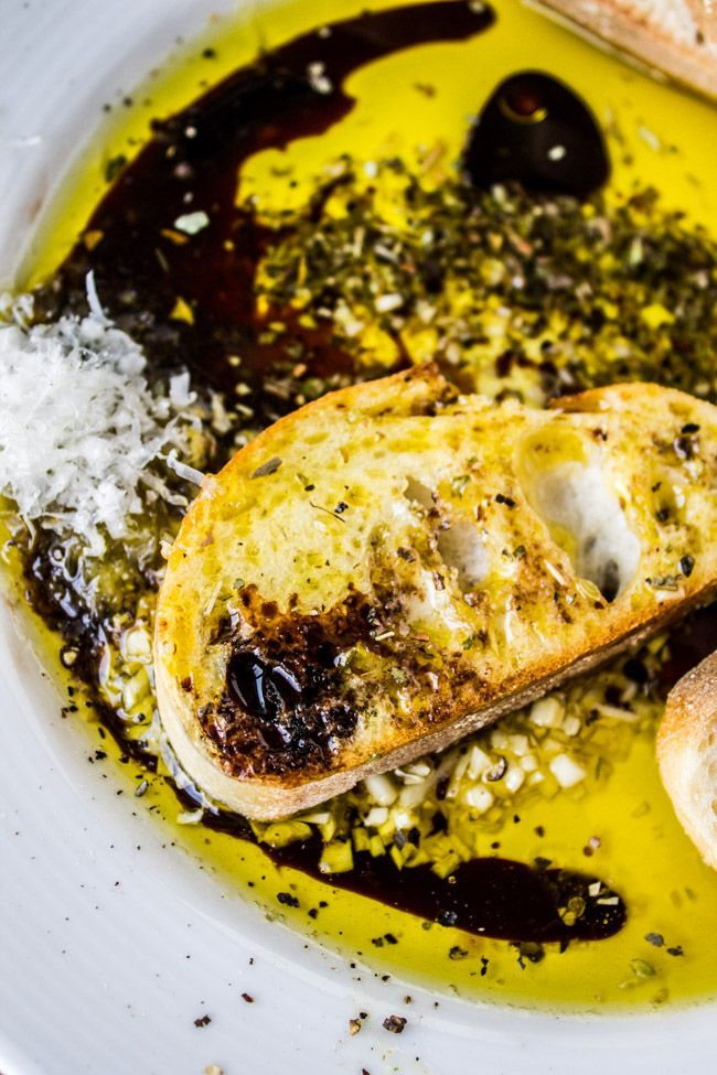 Now you can enjoy the appetizer from your favorite Italian restaurants at home! Nothing beats bread, olive oil, and balsamic vinegar.
