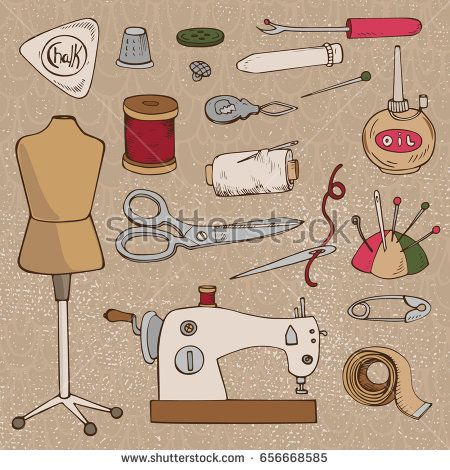 SEWING ACCESSORIES. Set of vector tailor icons isolated, design element.Colored hand drawing sketch.Vintage isolated object.Vector hand made supplies,knitt equipment.Design template.