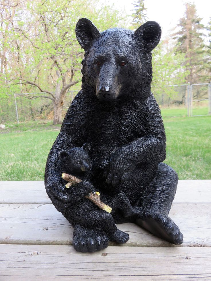 Black Bear Mom and Cub Figurine Cabin Country Woodland Resin Statue Ornament New