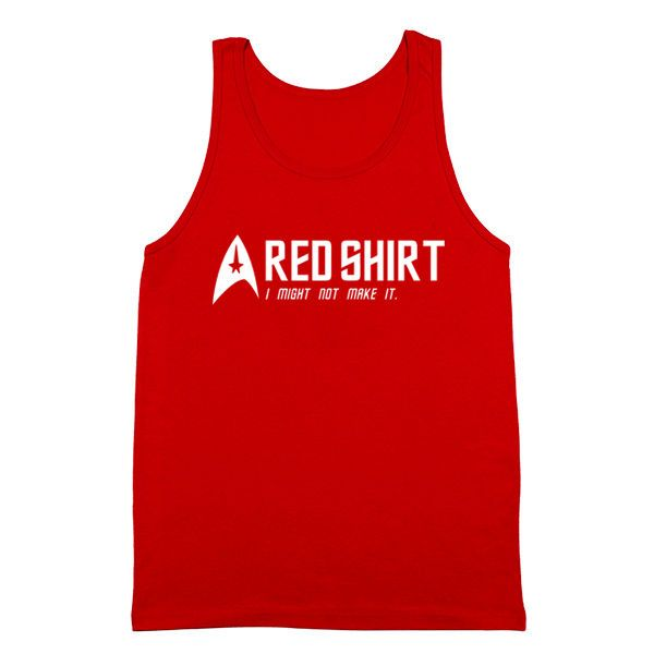 Red Shirt Might Not Make It Funny Star Trek Comic Costume Humor Red Tank Top #FunnyTees #GraphicTee