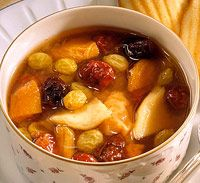 """Fruit soup / Hot """"frukt suppa"""" freaked out my friends. I was kinda disappointed that none of them (except one) took to it... thickened, sweet, hot, sweet, w/a kick. awesome..."""