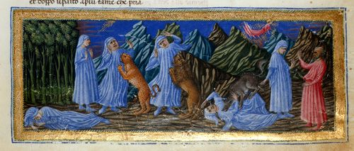 From a northern Italian edition, 1444-c.1450 of Dante Alighieri's Divina Commedia/Divine Comedy: 'detail of a miniature of Dante's vision of hell, where he is attacked by three wild beasts; the leopard, representing lust, the lion, pride, and the she-wolf, greed, and at the left, Dante meeting Virgil, in illustration of Canto I.'; (Yates Thompson 36 f.2) (British Library)