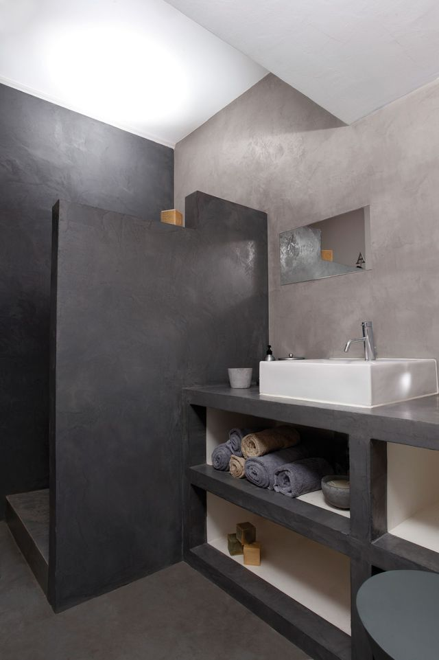 Les 25 meilleures id es concernant peinture effet beton sur pinterest peinture beton petits for Peinture effet beton cire pour plan de travail