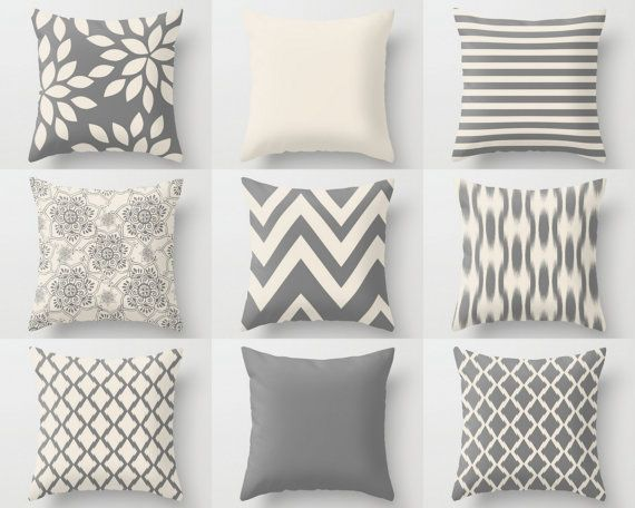 Throw Pillow Cover designs in Grey and Beige.  Individually cut and sewn, features a 2 sided print and is finished with a zipper for ease of care.