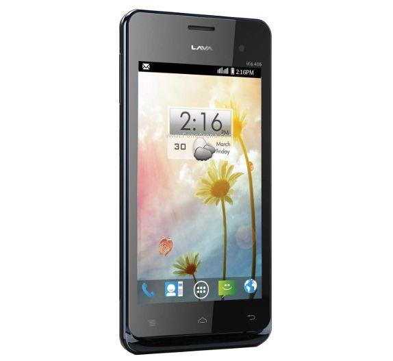 Lava Iris 405   -4-inch display  -1GHz dual-core processor  -Runs on Android 4.1   -5-megapixel rear camera