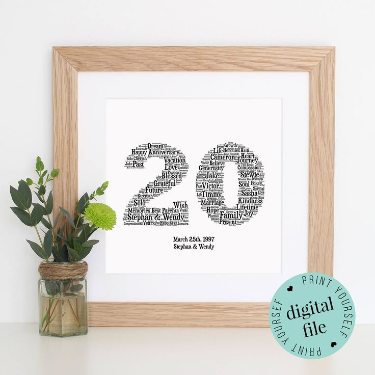 Personalised 20th ANNIVERSARY GIFT - Word Art - 20th Wedding Anniversary - Printable Art - Unique Anniversary gift - Gift for Couple - Print by WordlyDesigns on Etsy