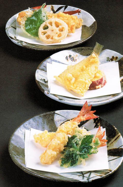 "Tempura shrimp, squid, sillago and lotus root from ""Japanese Cooking: A Simple Art"" by Shizuo Tsuji"